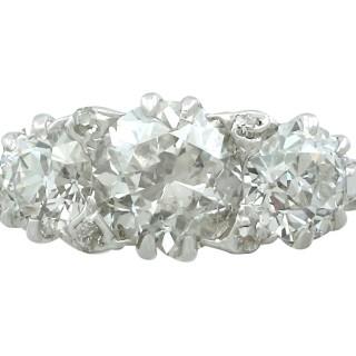 2.63 ct Diamond and 18 ct White Gold Trilogy Ring - Vintage Circa 1940