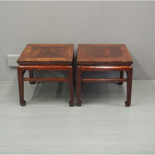 Pair of 19th Century Chinese Elm Side Tables
