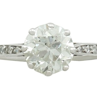1.42 ct Diamond and Platinum Solitaire Ring - Vintage Circa 1940