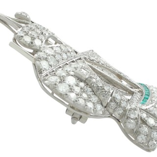 2.65 ct Diamond and 0.28 ct Emerald, Platinum Ship Brooch - Antique Circa 1910