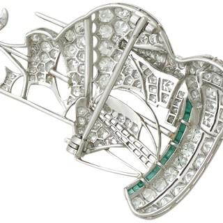 2.65 ct Diamond and 0.28 ct Emerald, Platinum Ship Brooch - Antique Circa 1910