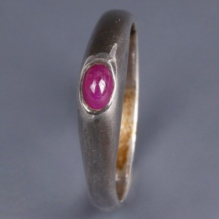 Medieval Stirrup Silver Ring with Ruby