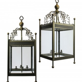 PAIR OF LARGE ST PANCRAS HOTEL LANTERNS