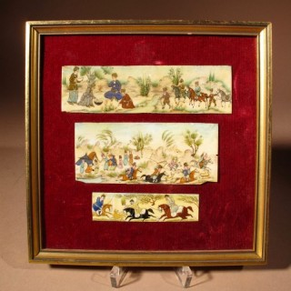 Three Persian Miniature Paintings Of A Hunting Party on Ivory/Bone, Circa 1920