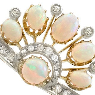 2.28 ct Opal and 0.58 ct Diamond, 9 ct Yellow Gold Brooch - Antique Circa 1910