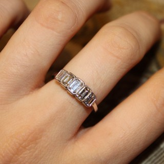 Platinum Five stone Graduated Emerald Cut Diamond Ring, Pre-owned