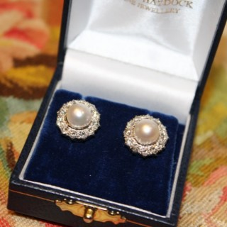 18ct White Gold Cultured Pearl Diamond Cluster Earrings, Circa 1950-1960