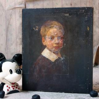 An English School Oil on Canvas Portrait of Master Ronald C. Pilsbury by Harry C. Pilsbury c.1900-10