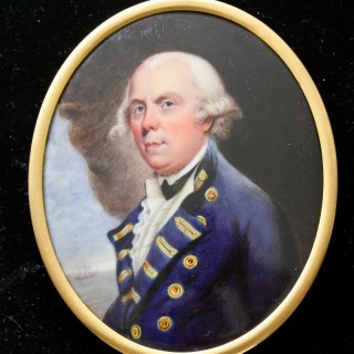 An enamel portrait miniature of  Admiral Samuel Barrington (1729 - 16 August 1800)