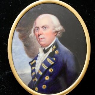 An enamel portrait miniature of  Admiral Samuel Barrington (1729 - 16 August 1800)