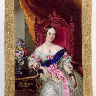 A 'Davenport's Patent' plaque decorated by Charles Meigh & Son, depicting Queen Victoria, after Sir William Charles Ross