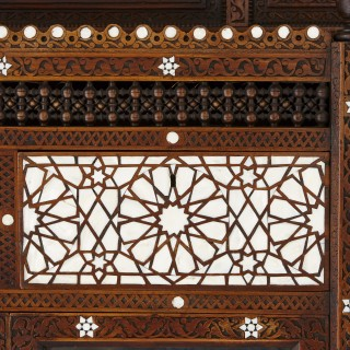 Large Moorish style mother-of-pearl inlaid display cabinet