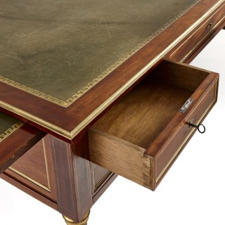 Louis XVI mahogany and leather bureau plat