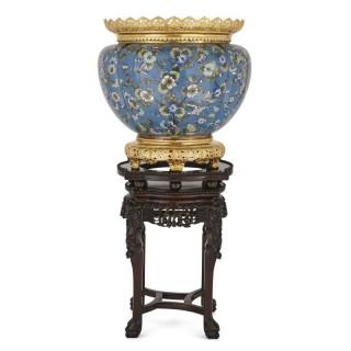 Cloisonné enamel and gilt bronze jardinière on ebonised teak stand