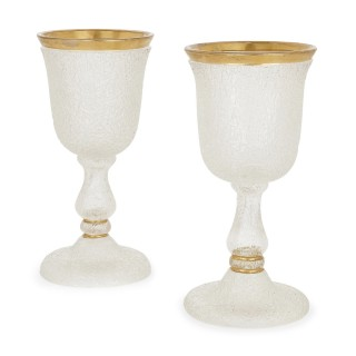 19th Century Bohemian frosted glass dessert service