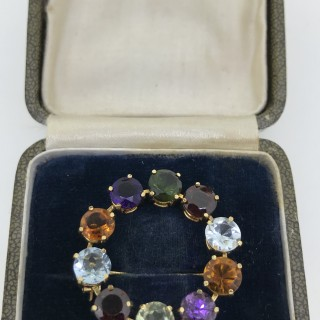 Vintage Multi Gem Brooch