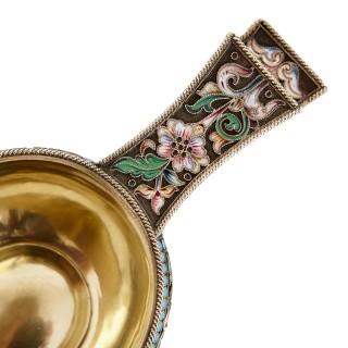 Russian cloisonné enamel and silver-gilt kovsh