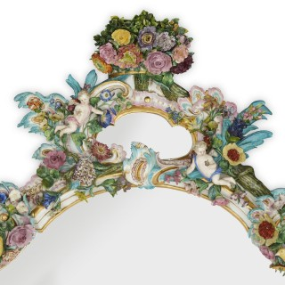 Antique Rococo style porcelain wall mirror by Meissen
