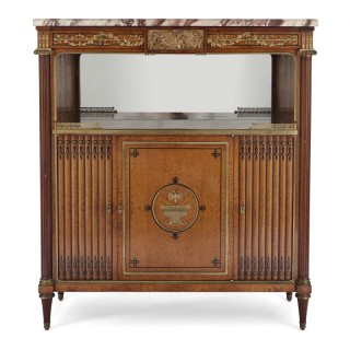French marble, gilt bronze and amboyna burl side cabinet