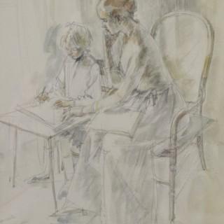 Jean Harper - Step Sister - Watercolour drawing