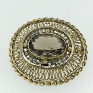 Silver Gilt  and Topaz Brooch/Pendant