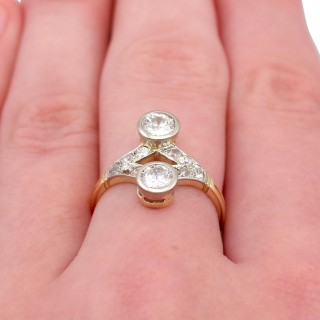 1.29ct Diamond and 15ct Yellow Gold Dress Ring - Antique Circa 1910