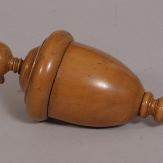 Antique Treen 19th Century Boxwood Urn Shaped Lemon Squeezer