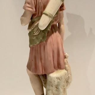 Tall Royal Dux Porcelain Figure of a Hunter