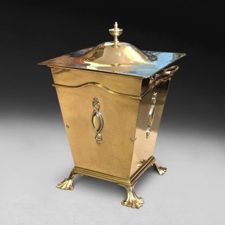 Late 19th century square Brass Lidded Coal Bucket by Tonks