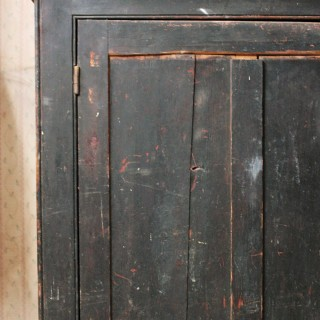 A Late Victorian Black Painted Pine Larder Cupboard c.1890-1900