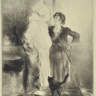 Edmund Blampied - Below Stairs - etching