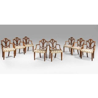 SET OF TWELVE GEORGE III PERIOD SATINWOOD ELBOW CHAIRS BY GILLOWS