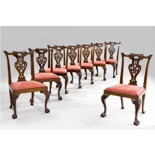 SET OF EIGHT CHIPPENDALE PERIOD DINING CHAIRS