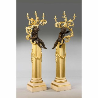 PAIR OF 19TH CENTURY COLD CAST GILT BRONZE PUTTI