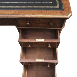 Antique Pollard Oak Pedestal Desk