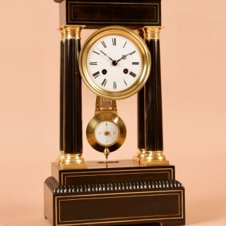 An Original Ebonised and  Brass Inlayed French Portico Clock circa:1870