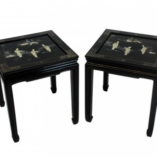 A PAIR OF MID-CENTURY JAPANNED SIDE TABLES