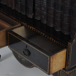 Fine quality 19th century black painted waterfall bookshelves/bookcase