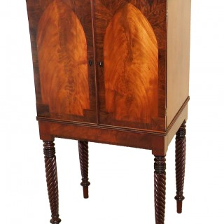 Regency Mahogany English Collectors Cabinet On Stand