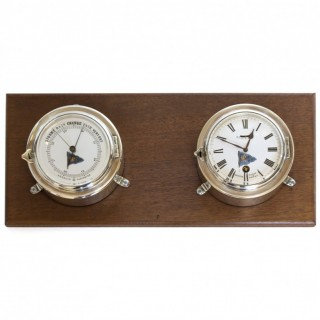 Chrome Ships clock and Barometer - Benzie, Cowes