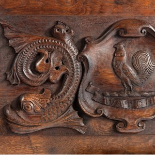 An oak barge board with the Insignia of Admiral Sir G.E. Patey