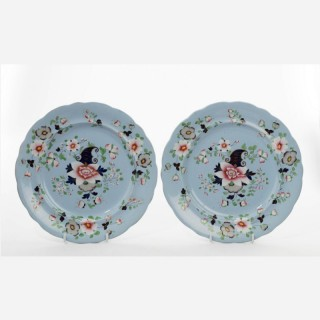 Pair of Mid-19th Century Painted Enamelled Gilded Dinner Plates
