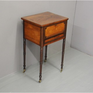 George IV Rosewood, Amboyna and Brass Work Table or Side Table