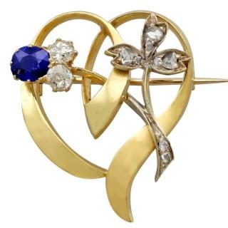 0.45ct Sapphire and 0.60ct Diamond, 14ct Yellow Gold Brooch - Antique Austrian Circa 1890
