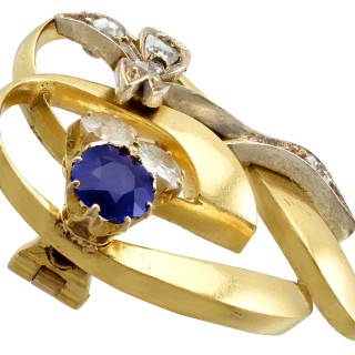 0.45ct Sapphire and 0.60ct Diamond, 14ct Yellow Gold Brooch - Antique Austrian Circa 1890