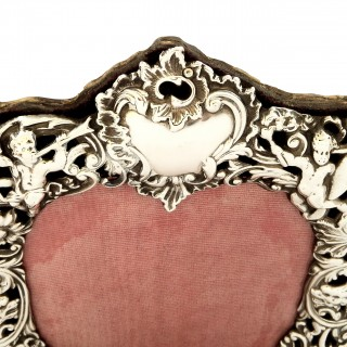 Antique Victorian Sterling Silver 'Cherubs' Photo Frame 1895