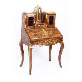 Antique Victorian Burr Walnut Marquetry & Ormolu Bonheur de Jour c.1860