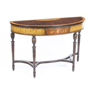 Antique Mahogany and Satinwood Hand-Painted Adam Revival Console Table 19th C