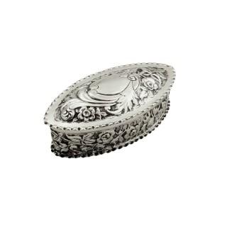 Antique Victorian Sterling Silver Trinket Box 1894