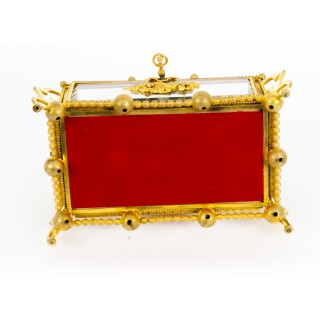 Antique French Louis Reviva Ormolu & Glass Jewellery Casket c.1880 19th Cent.